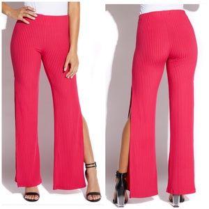 Pink Side Slit Palazzo Pants Size Medium, NWT